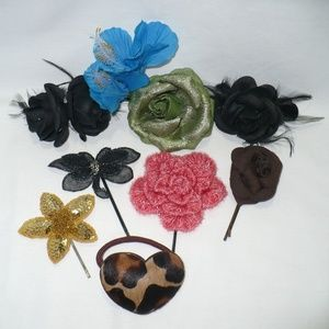 Lot of 9 Accessories: Flowers, Butterfly & Leopard